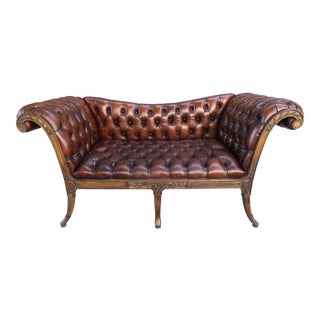 French Regency Style Carved Leather Tufted Sofa, Circa 1920s For Sale