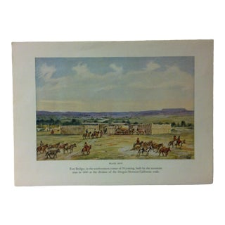 "Americana Color Print on Paper, ""Fort Bridger - in the Southwestern Corner of Wyoming"" by w.h. Jackson, Circa 1940 For Sale"