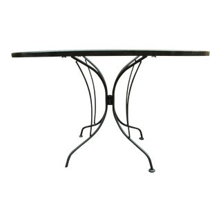 Vintage Mid Century Wrought Iron Patio Table For Sale