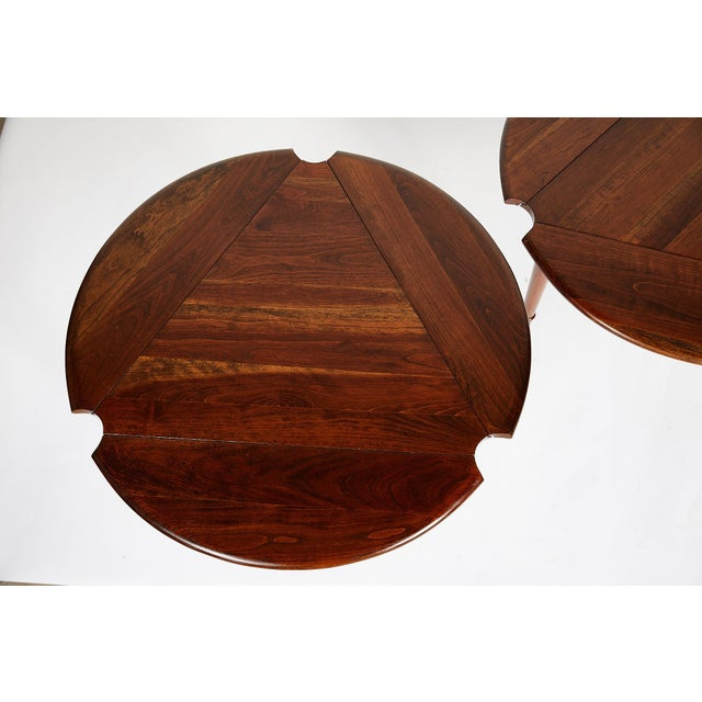 American Pair of Vintage Statton Drop Leaf Tea Tables of Solid Cherry For Sale - Image 3 of 12
