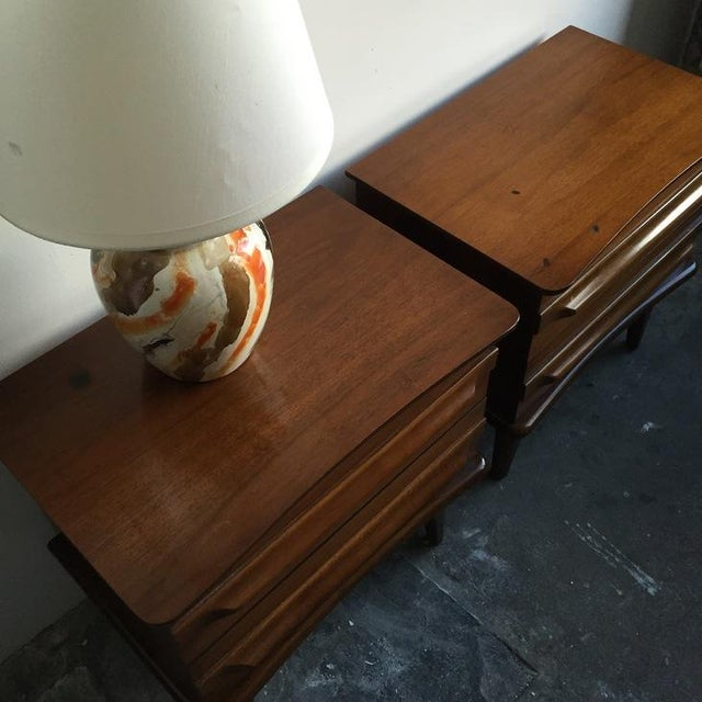 Mid-Century Mahogany Nightstands - A Pair - Image 5 of 5