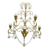 Image of Century Gold Metal Frame Sputnik Wall Sconce Murano Glass For Sale