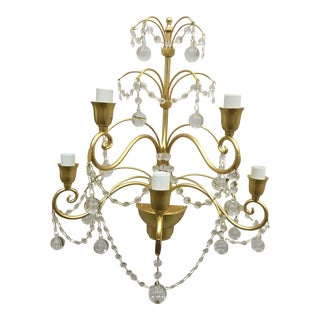 Century Gold Metal Frame Sputnik Wall Sconce Murano Glass For Sale