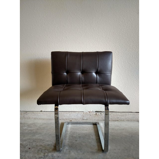Tufted Dark Cowhide Leather Chair - Image 2 of 5