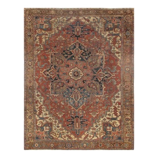 Late 19th Century Antique Persian Serapi Rug - 10′ × 13′ For Sale