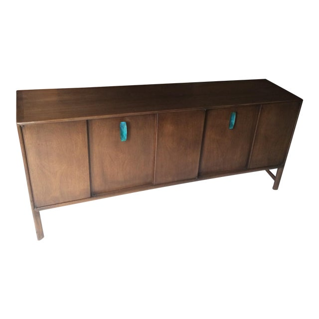 Ray Sabota for John Stuart Curved Credenza With Optional Travertine Stone Top For Sale