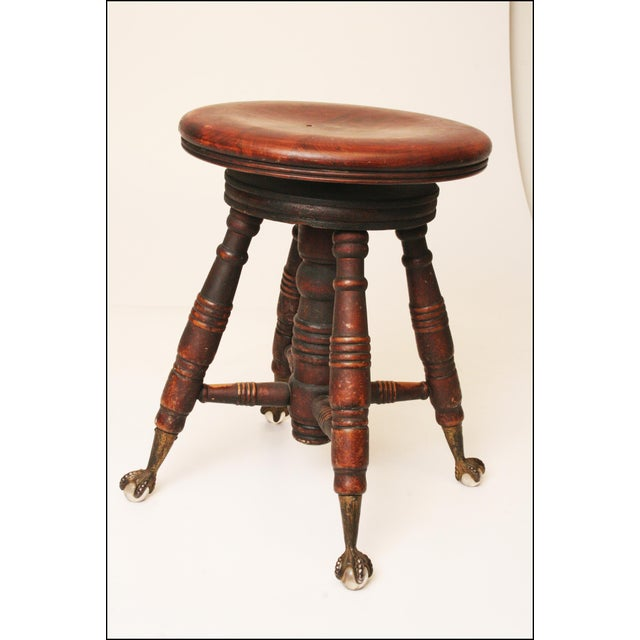 Victorian Wood & Glass Swivel Piano Stool - Image 3 of 11