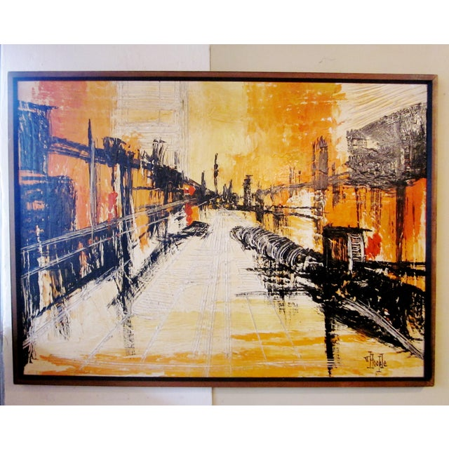 Mid-Century Modern Signed Van Hoople Modernist Industrial Abstract Landscape Impasto Style Oil on Canvas Painting For Sale - Image 9 of 9