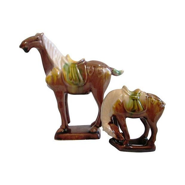 Chinese Tang-Style Stallions - Pair For Sale