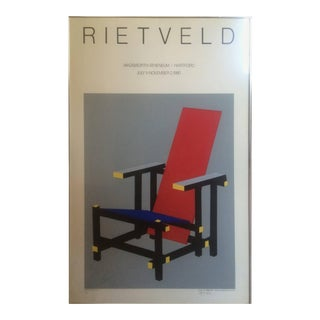 Screen Print for Museum Show Gerrit Rietveld Red and Blue Chair For Sale