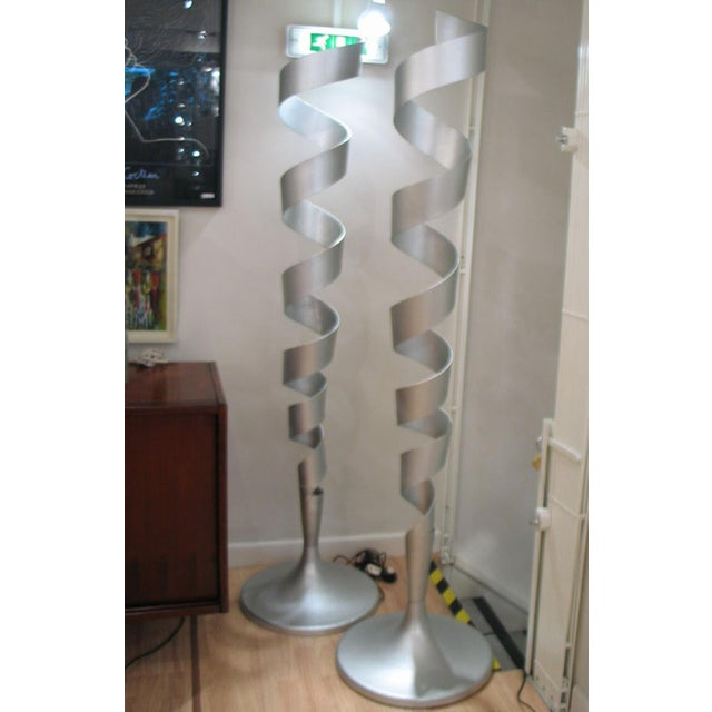 Spiral Floor Lamps - a Pair For Sale - Image 4 of 5