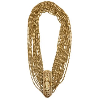 Gold Wash Over Sterling Silver Link Beaded Strand Necklace With Egyptian Clasp For Sale