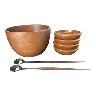 Mid-Century Danish Teak Salad Bowl Set - Set of 7 For Sale
