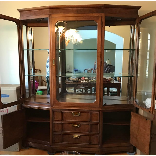 Beautiful dining room China cabinet from Thomasville - The cabinet consists of two pieces - upper and lower section. The...