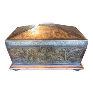Walnut and Brass Box by Maitland Smith For Sale