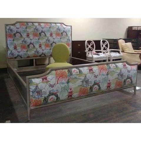 Henredon Contemporary Henredon Furniture Quartz Grey Catherine King Upholstered Bedframe For Sale - Image 4 of 11