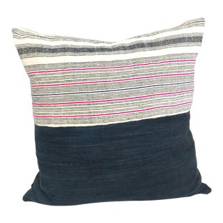 Vintage Indigo + Pink Pillow For Sale