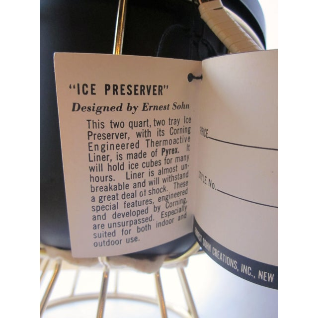 Metal Vintage 1950s Ernest Sohn Creations Matte Black and Gold Ice Bucket For Sale - Image 7 of 10