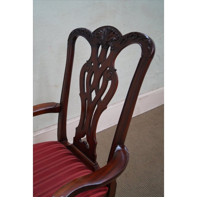 Maitland Smith Mahogany Chippendale Arm Chairs - 2 - Image 8 of 10