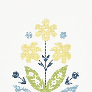 Sample - Schumacher Floweret Paperweave Wallpaper in Spring For Sale