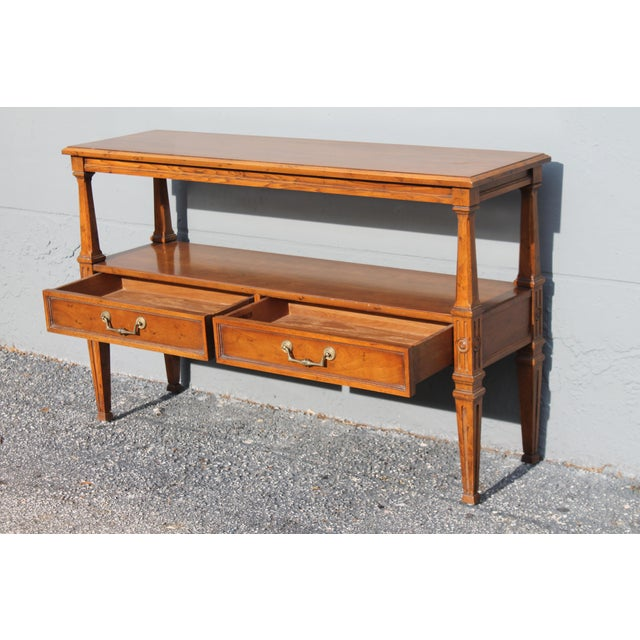 Wood 1960s Traditional Walnut 2 Drawer Hall Console Table For Sale - Image 7 of 13