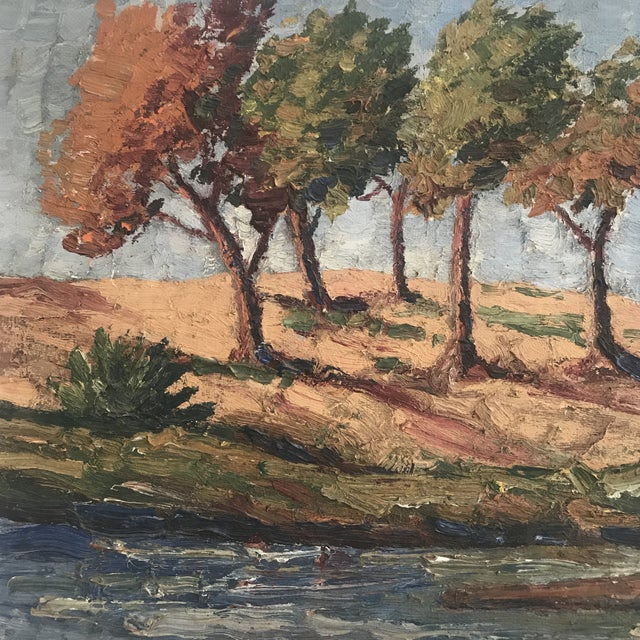 """Vintage Impasto Landscape Painting signed on the lower right, by artist """" Collins"""". Greens, Blues and browns emphasize..."""