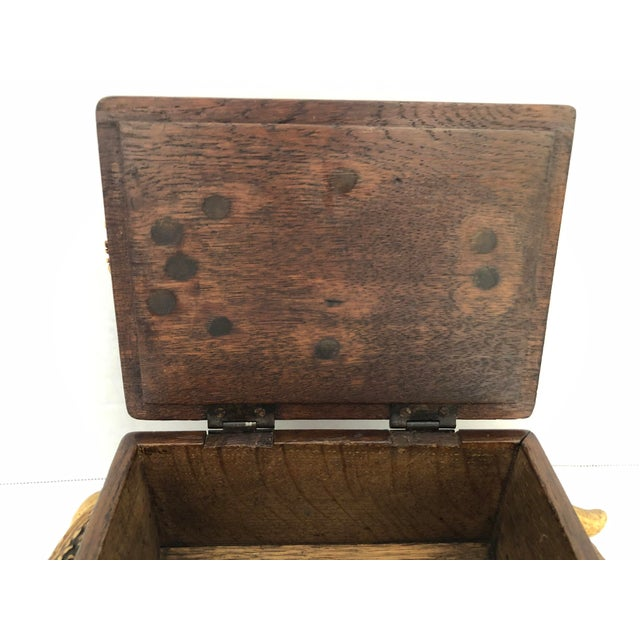 Black Forest Wood Box With Natural Antlers For Sale - Image 9 of 13