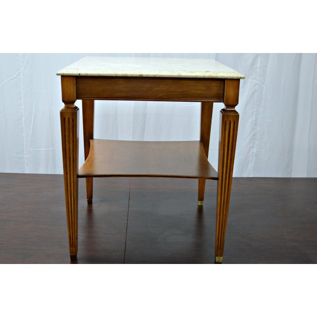 Traditional Square Side Table With Marble Top - Image 5 of 7
