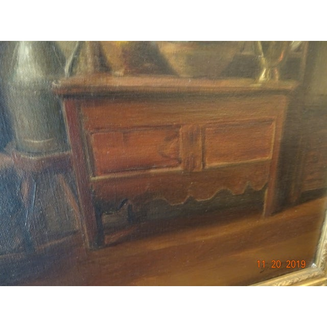 French Interior Oil on Canvas For Sale - Image 3 of 12