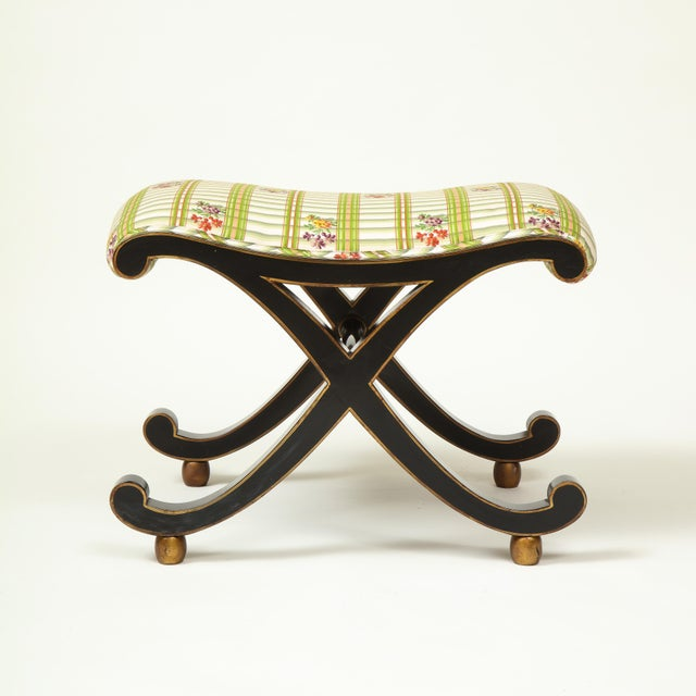 Mario Buatta Colefax & Fowler Black and Gilt X-Form Bench For Sale - Image 4 of 8