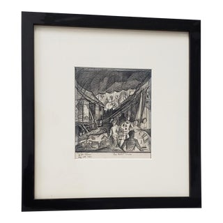 """Glen Tracy (American, 1883-1956) """"The Night Show"""" Original Pencil Drawing C.1952 For Sale"""