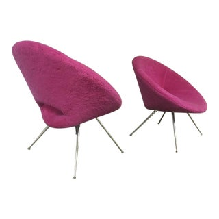 Danish Pair of Flying Saucer Shaped Newly Covered in Pink Wool Faux Fur For Sale