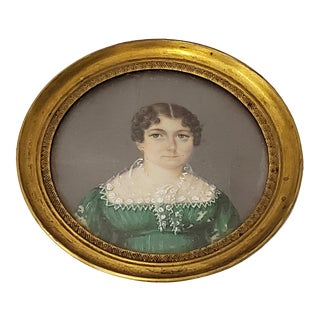 Mid 19th Century Miniature Portrait of a Young Woman Wearing a Green Dress For Sale