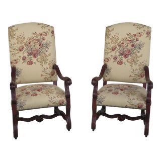 Ralph Lauren Baroque Style Upholstered Throne Chairs - A Pair For Sale