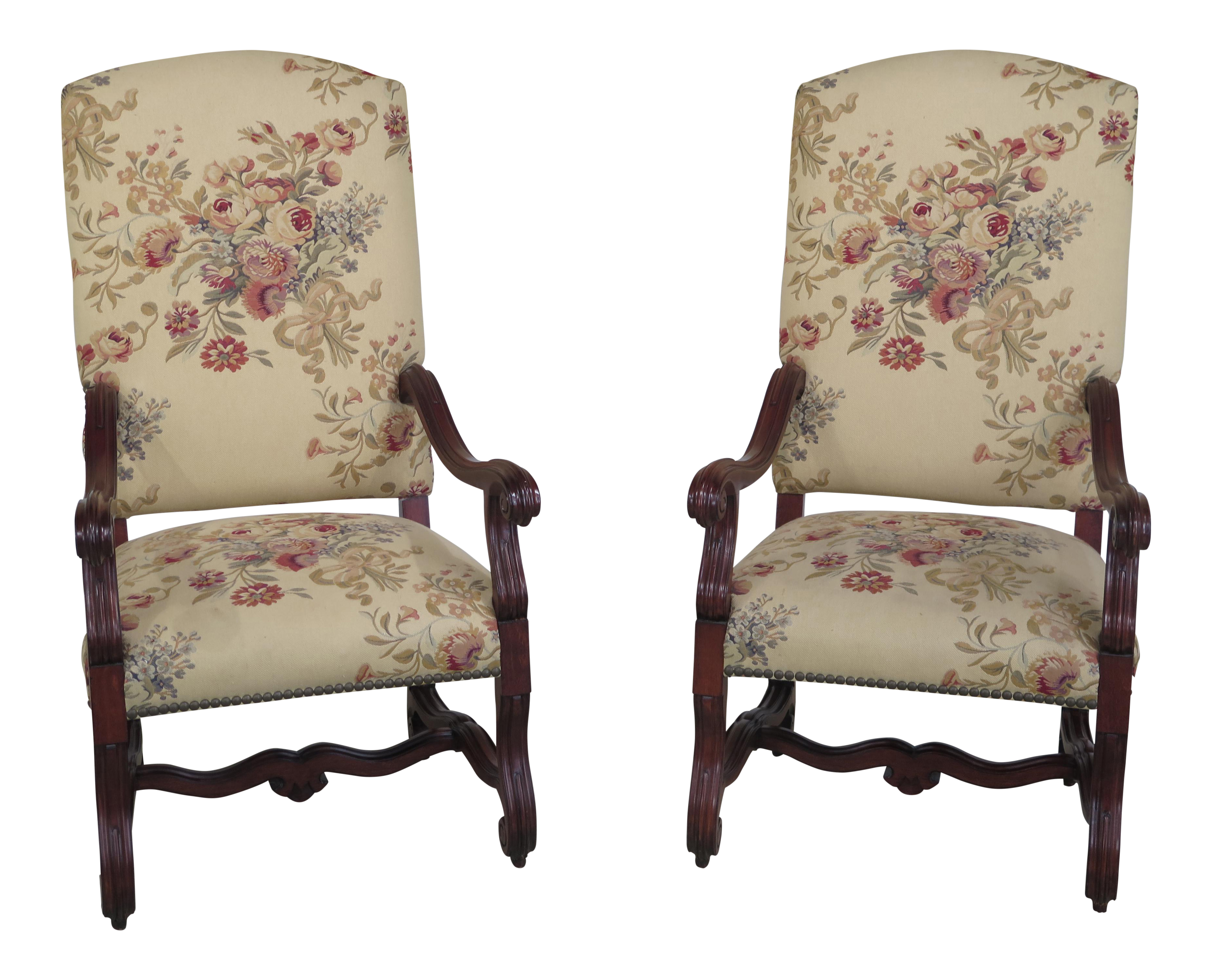 Ralph Lauren Baroque Style Upholstered Throne Chairs   A Pair