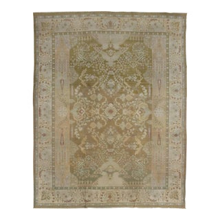 Antique Indian Agra Area Rug in Neutral Colors