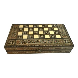 Vintage Wooden Inlaid Game Box For Sale