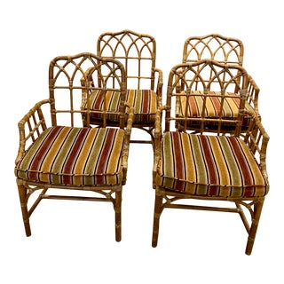 Mid 20th Century McGuire Cathedral Arm Chairs - Set of 4 For Sale