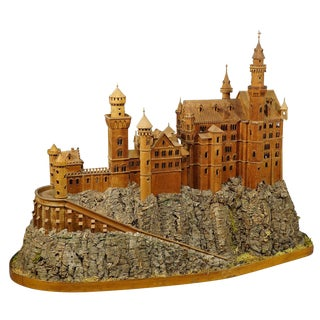 Large Wooden Carved Model of Neuschwanstein Castle For Sale