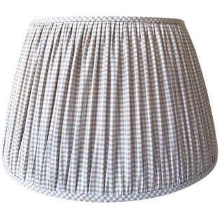 New, Made to Order, Cotton Beige Gingham, Medium Gathered/Pleated Lamp Shade For Sale