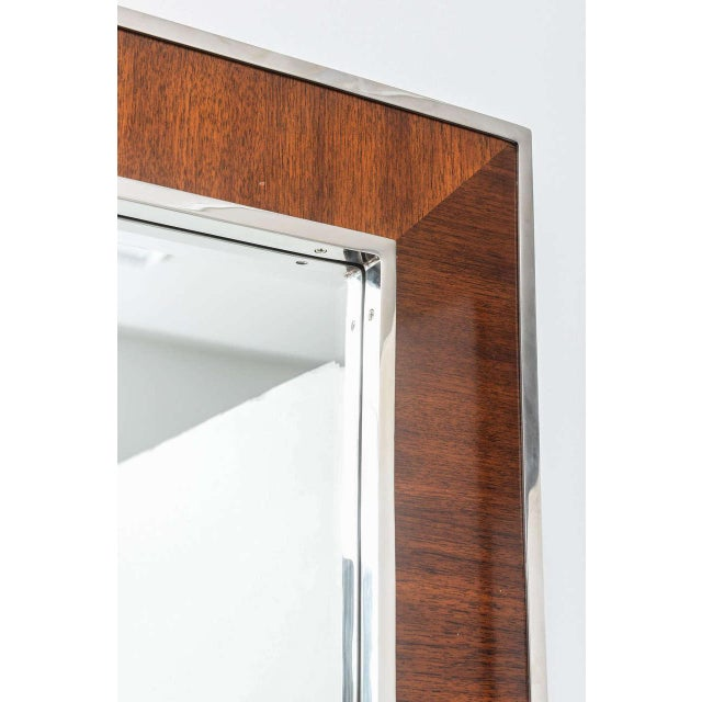Karl Springer Style Mirror with Polished Chrome and Mahogany Frame, 1980s - Image 8 of 10