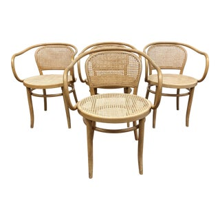 Set of Four Model 33 B9 Le Corbusier Caned Bentwood Chairs For Sale
