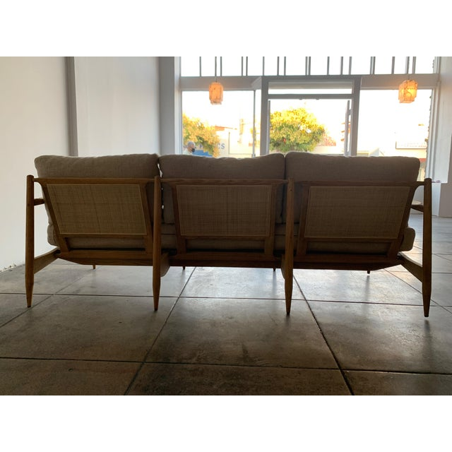 MCM Danish Wood and Woven Cane Couch For Sale - Image 4 of 10
