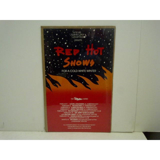 """This is a Vintage Concert Series Poster -- Syracuse University -- """"Red Hot Shows"""" -- The Miller Series -- Circa 1980 --..."""