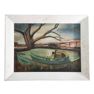 1950s Vintage Boat at Sunset Oil Painting For Sale