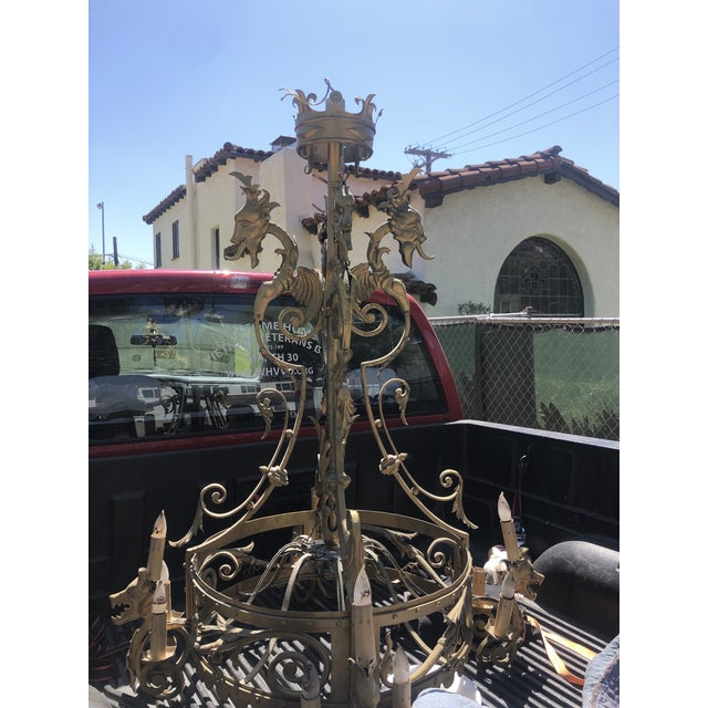1920s Spanish Revival Gothic Mediterranean Iron Oversized Chandelier For Sale - Image 12 of 13