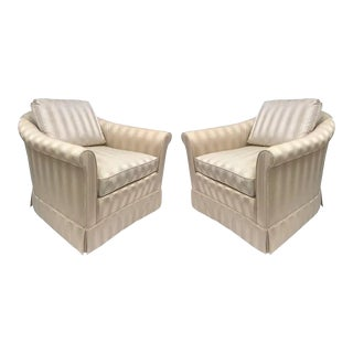 1980s Baker Upholstered Lounge Chairs - a Pair For Sale