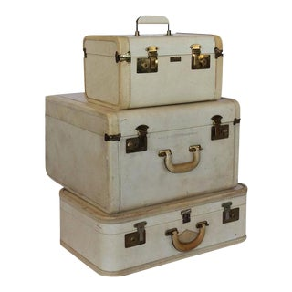 Vintage Vellum Suitcases - Set of 3 For Sale
