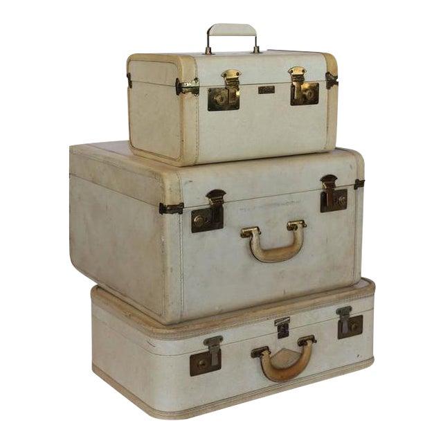 Vintage Vellum Suitcases - Set of 3 For Sale