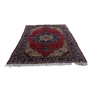 Antique Turkish Anatolian Handwoven Area Rug - 5′1″ × 8′5″ For Sale